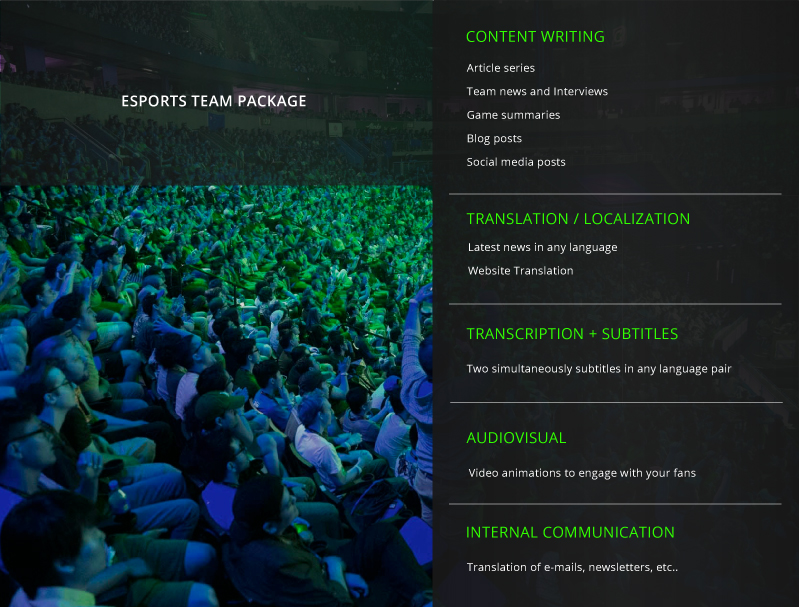 Esports team package by All-in Global