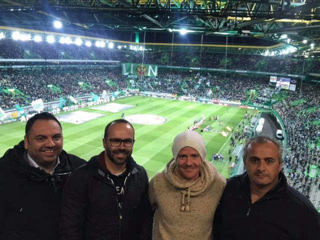 Our chairman, Roy Pedersen and Tiago Aprigio, ou CEO, posing for the picture in Estádio de Alvalade with two members of Boavista Esports team