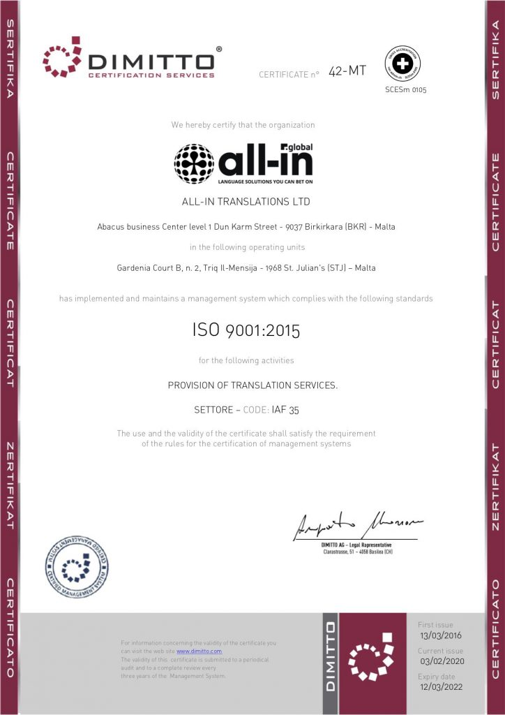 ISO CERTIFICATION | All-in Global