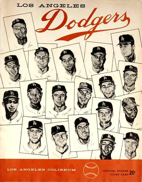 Los Angeles Dodgers official dodger score card with the players cards