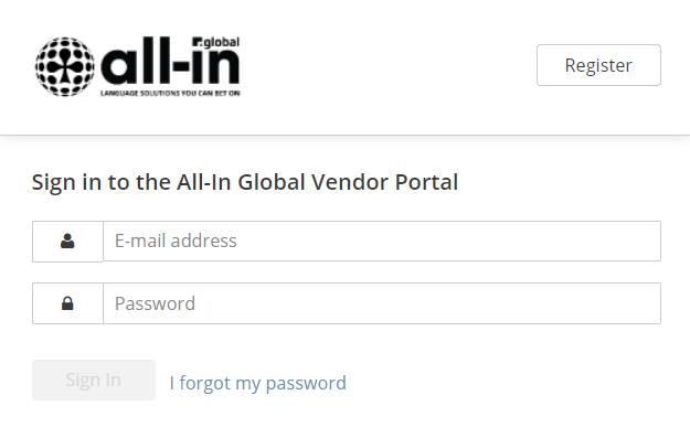 All-in Global Vendor Portal translator login page