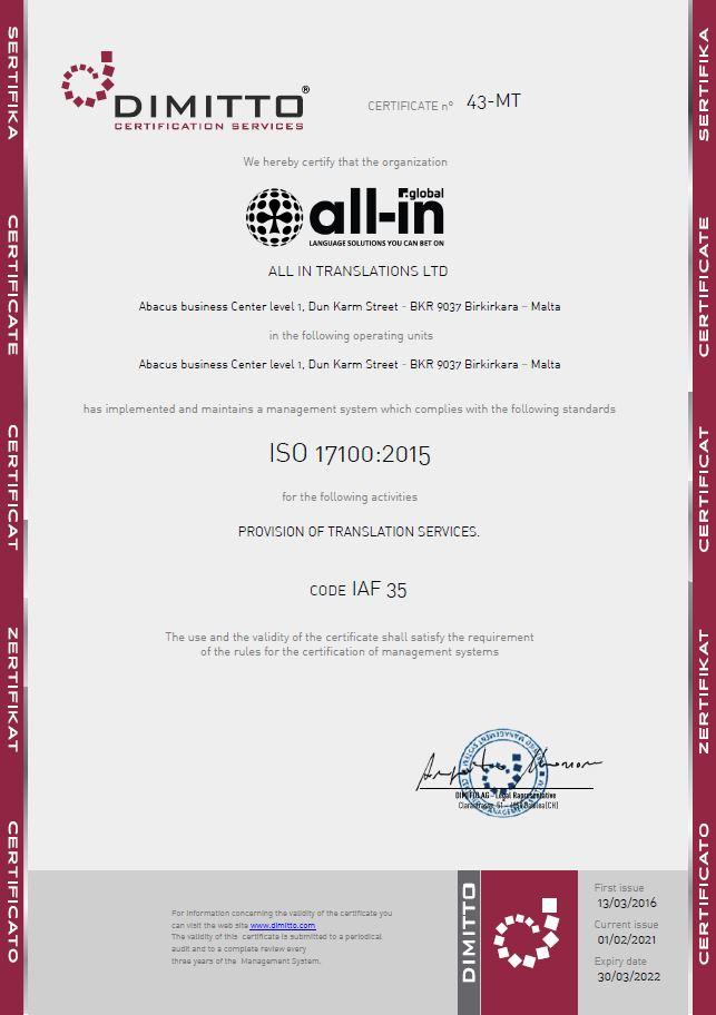AG Certificato_43-MT - All In Translation - 17100
