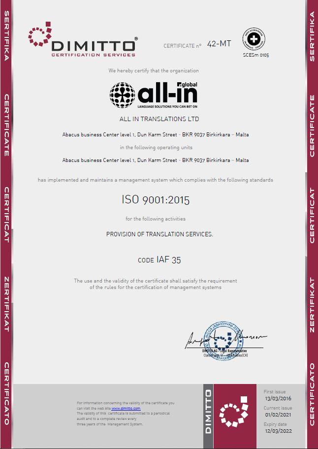 AG Certificato_42-MT - All In Translation - 9001